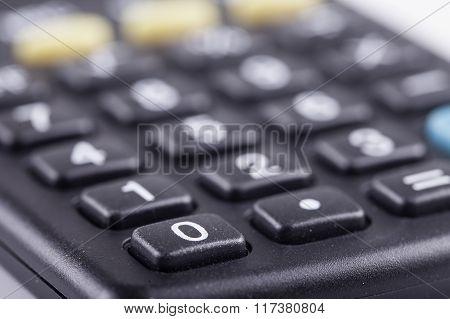 Close up view of calculator keys