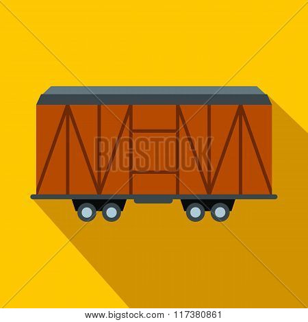 Train cargo wagon flat icon