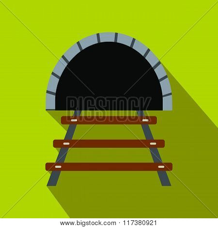 Railway tunnel flat icon