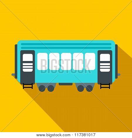 Passenger railway waggon flat icon