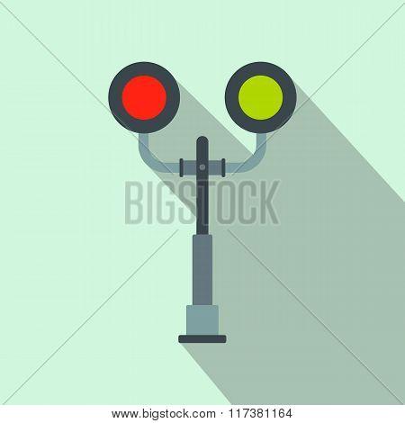 Railway crossing light flat icon