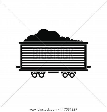 Open rail car black simple icon