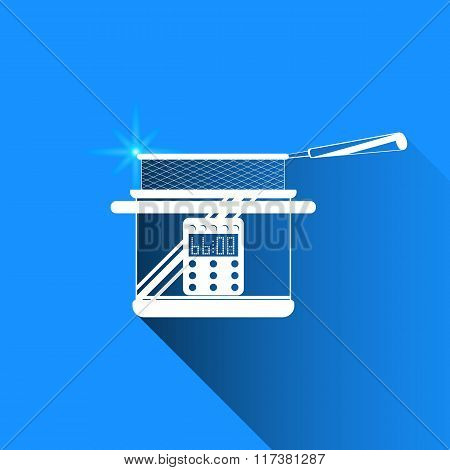 Deep Fryer On Blue Background. Vector Isolated