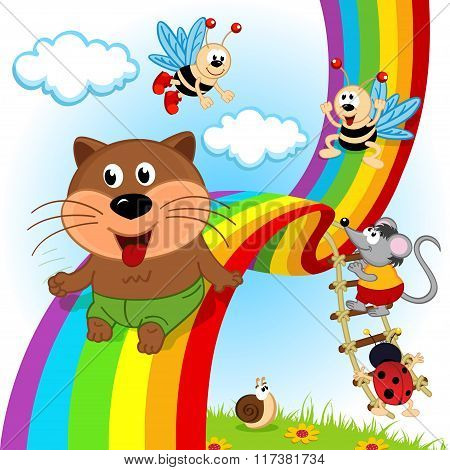 animals and insects ride on rainbow