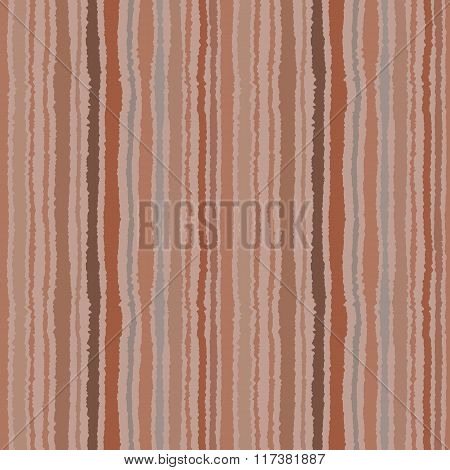 Seamless strip pattern. Vertical lines with torn paper effect. Shred edge background. Brown, gray co