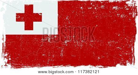 Tonga vector grunge flag isolated on white background.