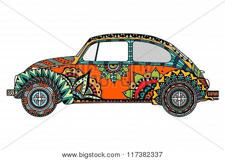 Vintage Car In Zentangle