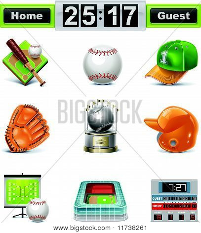 Vector beisebol / softbol icon set