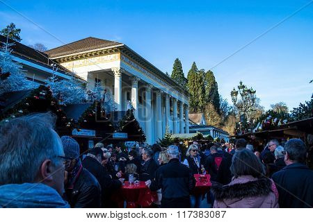 Unidentified People On Christmas Market In  Baden-baden, Germany