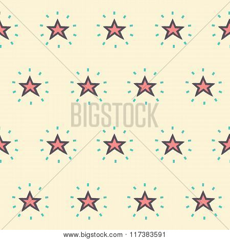 Vector Seamless Pattern Of Glowing Stars On Yellow Background