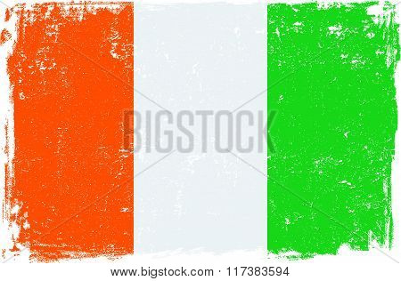 Ivory Coast - Cote d'Ivoire vector grunge flag isolated on white background.