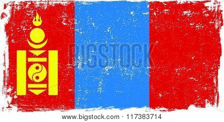 Mongolia vector grunge flag isolated on white background.