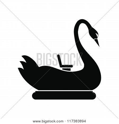 Swan children carousel black simple icon