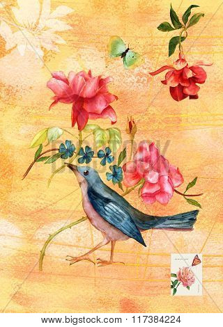 Vintage Collage Postcard With Watercolor Drawings Of Bird And Roses