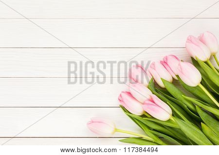 Bouquet Of Pink Tulips On White Wooden Background. Top View, Copy Space
