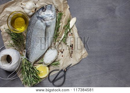Fresh Dorado Fish With Salt, Garlic, Rosemary And Lemon