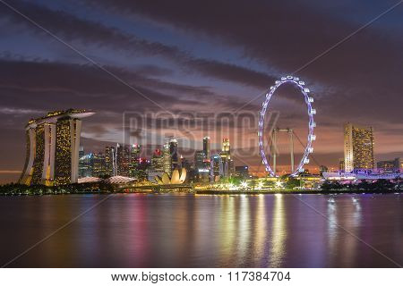 Singapore's Marina Bay Area. View Overlooking The Tourist And Business District Of Singapore.