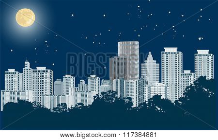 illustration with night city landscape
