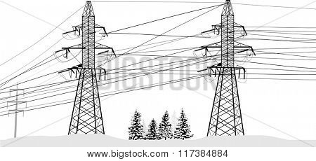 illustration with electric pylons in snow isolated on white background