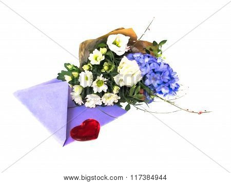 bouquet of flowers, an envelope with letter and heart