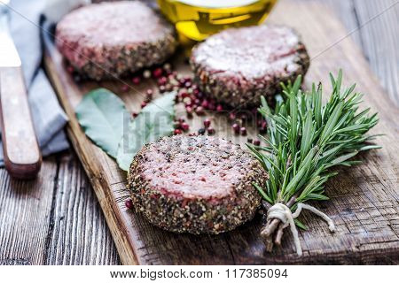 Raw Beef Burgers With Herbs