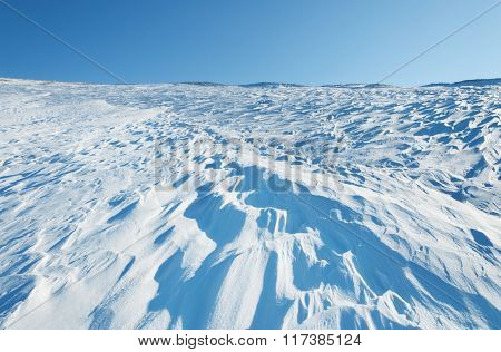 Snow Waves In Slope