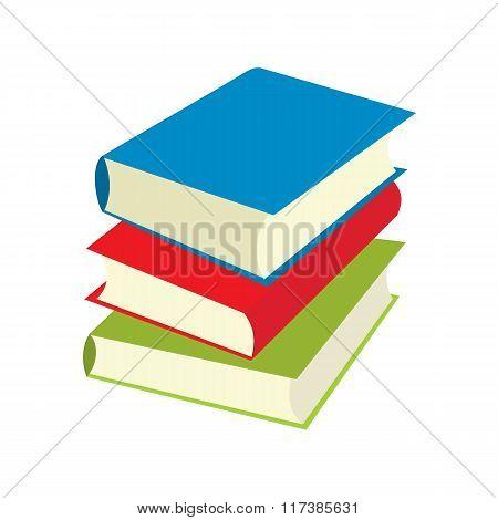 Three books flat icons