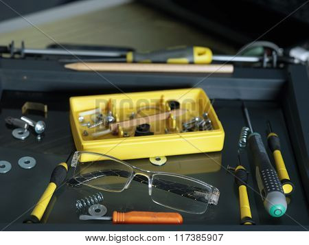 Disassembled Device And Tools