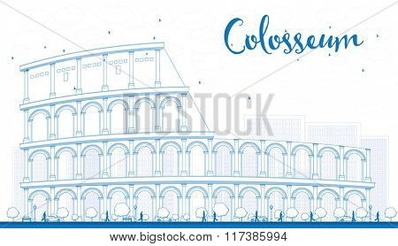 Outline Colosseum in Rome. Italy. Vector illustration. Business Travel and Tourism Concept with Historic Landmark.  Image for Presentation, Banner, Placard and Web Site.