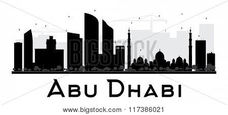 Abu Dhabi City skyline black and white silhouette. Simple flat concept for tourism presentation, banner, placard or web site. Business travel concept. Cityscape with landmarks