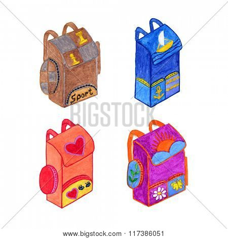 Set of watercolor backpacks isolated on white background. Education concept. Hand drawn set of school backpacks.