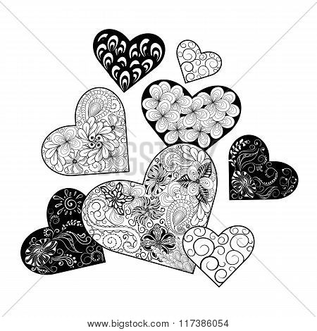 Hearts Doodle Illustration