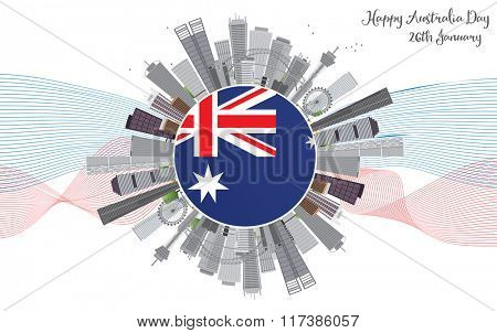 Australia Day Background with Gray Buildings. National Celebration Card with Copy Space and Lines.