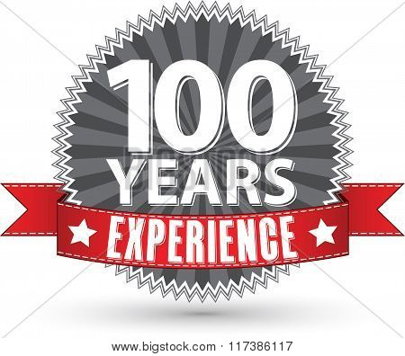 100 Years Experience Retro Label With Red Ribbon, Vector Illustration