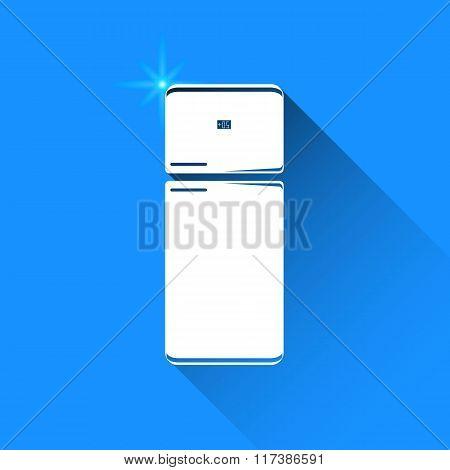 Fridge On Blue Background. Vector Isolated