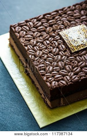 Chocolate And Coffee Beans Cake