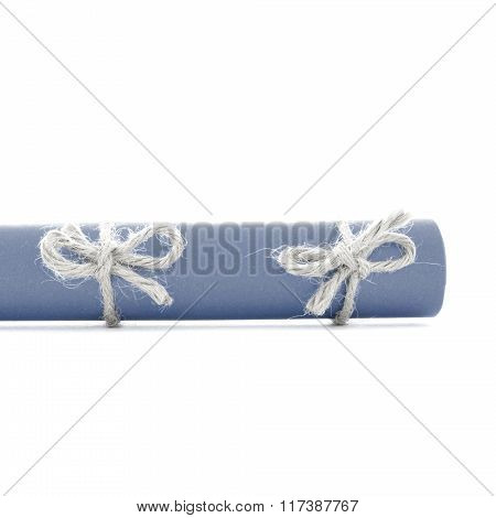 Natural Handmade Rope Knots Tied On Blue Letter Scroll Isolated