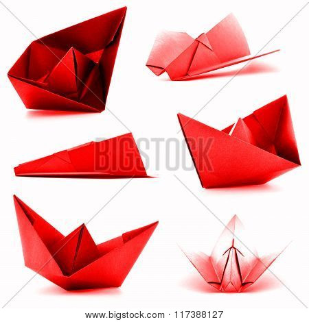 Red Origami Collection, Airplane, Ship Photoset Isolated On White Background