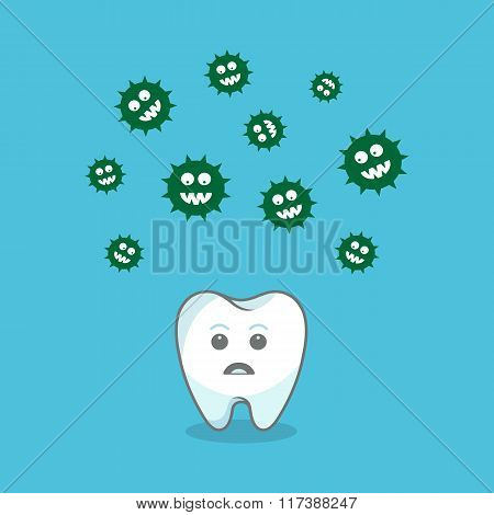Tooth and bacteria attacking it. Vector illustration