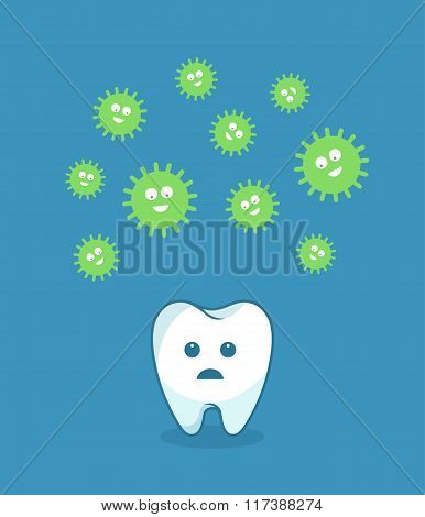 Green bacteria attacking white tooth - vector illustration