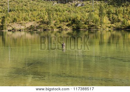 Caucasian Man Fly-fishing In Alpin Lake, Austria. Austria - Sept 21, 2015