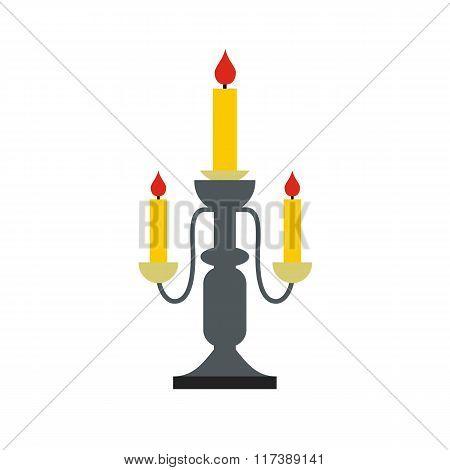 Candlestick lamp flat icon