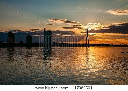 Sunset Over The River Daugava