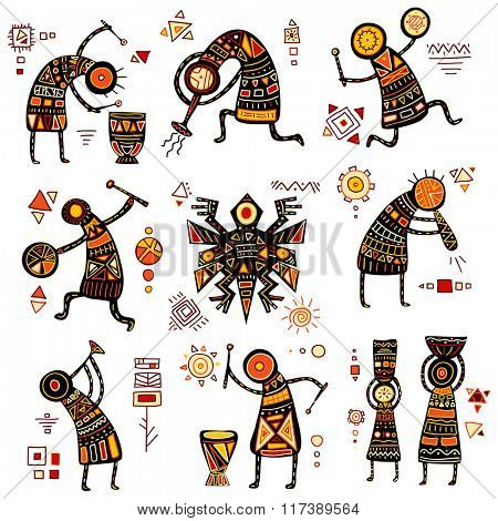 African ethnic patterns of yellow, orange, black and red color