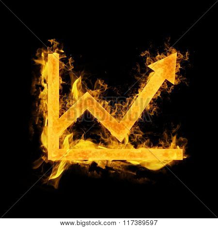 Graph in fire against black