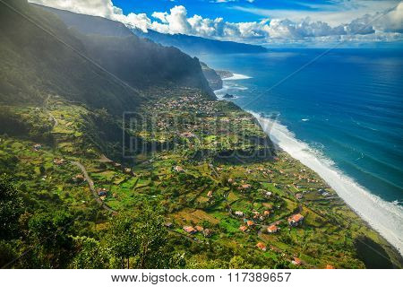 Amazing Landscape With A Small Village Arco De Sao Jorge