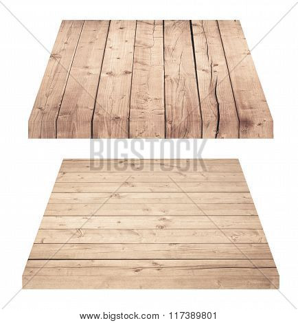 Wooden shelves or tabletop isolated on white
