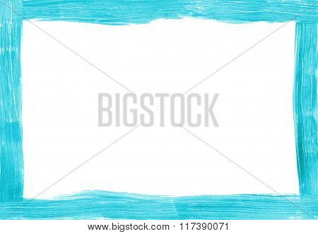 Turquoise Freehand Painted Rectangular Border