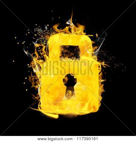 Closed padlock on fire against black