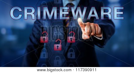 Perpetrator Touching Crimeware Onscreen